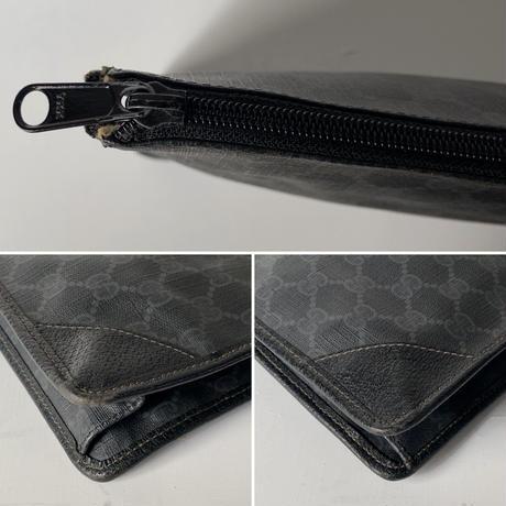 GUCCI オールドグッチ インターロッキング GG柄コーティングキャンバス ブラック/グレー  セカンドバッグ  ポーチ インバッグ ヴィンテージ 鞄 31cm