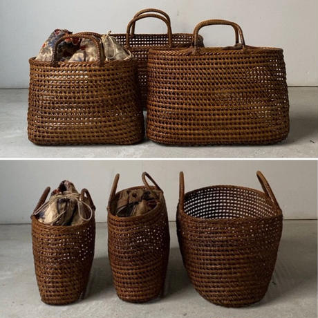 古い籐巻きの煎茶籠 大きめサイズ35 cm  更紗無し  ヴィンテージカゴバッグ 完品
