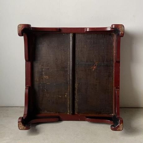 朱漆の古い座卓  65cm根来座卓 ローテーブル ちゃぶ台 アンティーク 仏教 経机 塗りのお膳 伝統工芸 ヴィンテージクラフト フォークアート