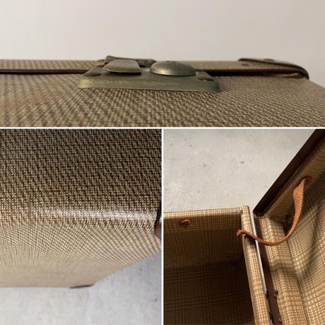 アンティーク ファイバートランク ベージュ/ブラウン 大型68cm グレンチェックインナー トラッドデザイン 金具正常 鍵無し