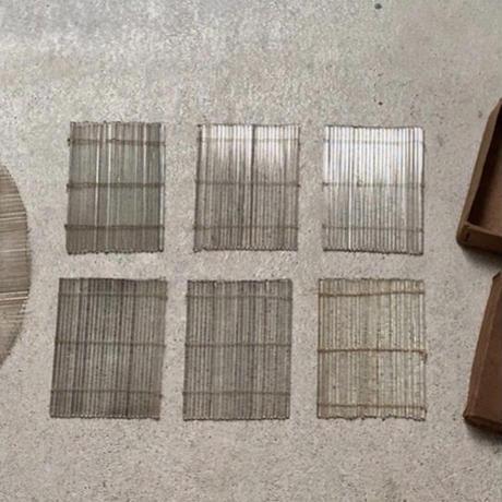 古いガラスの簾  大正〜昭和期 ヴィンテージガラスのコースター  当時物箱入 四角6枚オーバル1枚 計7枚  美品