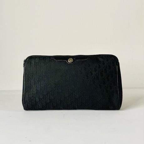 Dior  オールド クリスチャン ディオール  トロッター レギュラーポーチ ブラック レザー/ファブリック ヴィンテージ  28cm