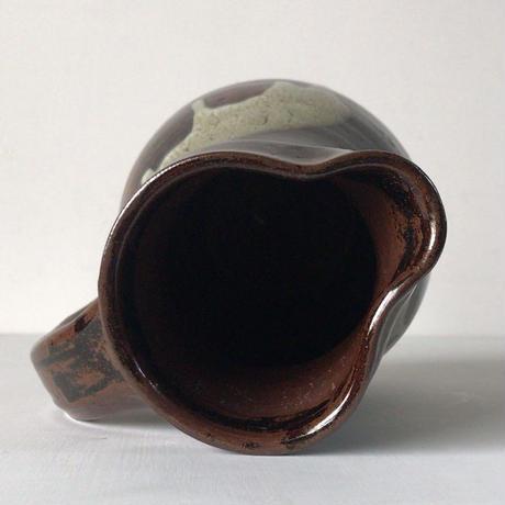 小石原焼 8寸ピッチャー 飴釉・打掛  把手壺 水差 花器 ジャグ。民藝。 高さ約24cm  完品