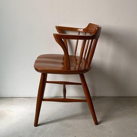 B  飛騨産業 キツツキマーク ウィンザーダイニングチェア ローバックアームチェア  木製無垢 木工椅子 made in japan