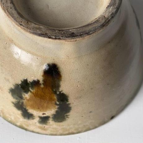 古琉球 やちむん 4.5寸マカイ 古作 登窯 犬の足跡模様 呉須と飴釉の2色構成 昭和期 ヴィンテージ フォークアート