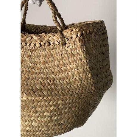 2段カゴバッグ  天然素材カチュー2wayトートバッグ 短めハンドル 籠バッグ 鞄  未使用品