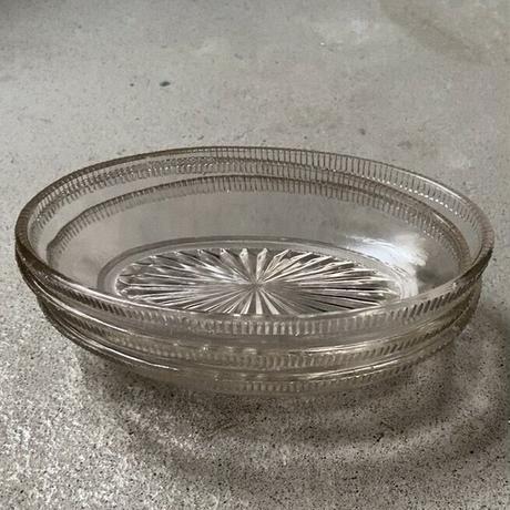 アンティーク オーバル ガラス器  明治〜大正期 プレスガラス 気泡 歪なゆらゆら硝子 深め楕円デザート器 幅約15cm 完品  ※1点の価格表記、4点ございます。