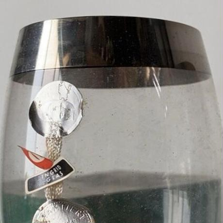 Ingrid glass イングリッドグラス 西ドイツ製 銀縁 ペア ビアグラス 箱入タグ付 デッドストック 汚れはございますが完品