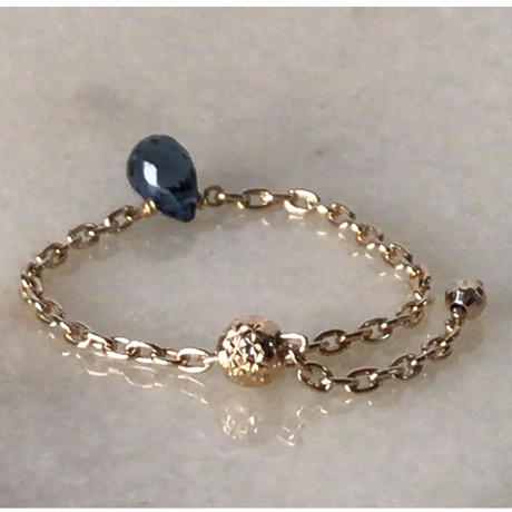KAORU  カオル  ポロリンリング  ブルートパーズ K10YG チェーンリング 指輪  free size  2020年1月購入品  中古極美品
