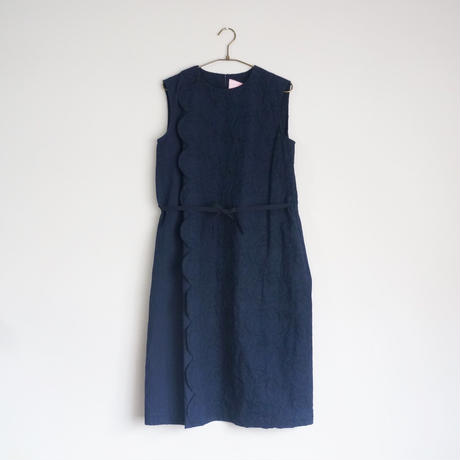 【STASTNY SU】chain flower ワンピース(navy)