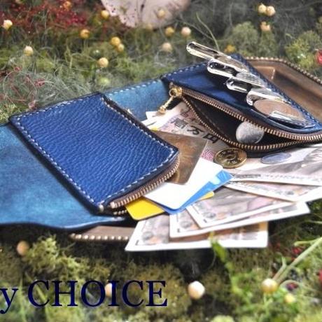 イタリアンオイルレザーアリゾナ・二つ折りコインキャッチャー財布(アルノブルー)