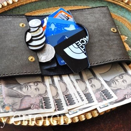イタリアンレザー・革新のプエブロ・コンパクト2つ折り財布(グリージオ×ネイビー)