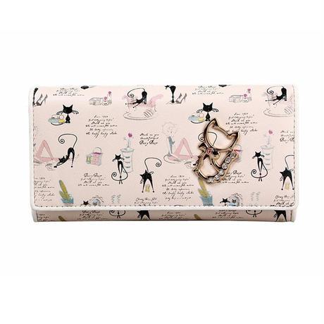 レディース財布 かわいい猫の財布 二つ折り 長財布 猫