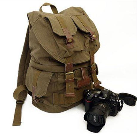 COURSER (コーサー) キャンバス素材カジュアルカメラバッグ バックパック 一眼レフカメラバッグ F2001 カーキグリーン 【並行輸入品】