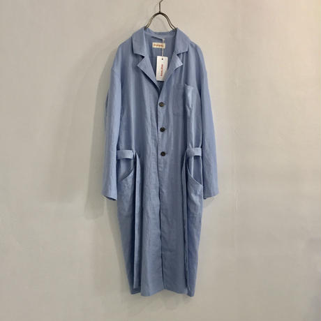 french linen work coat  / sky-blue