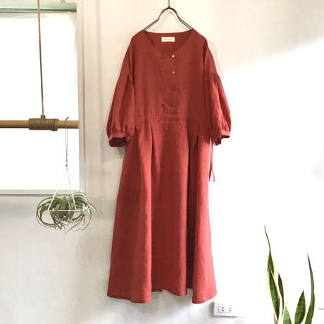 french linen  W button dress