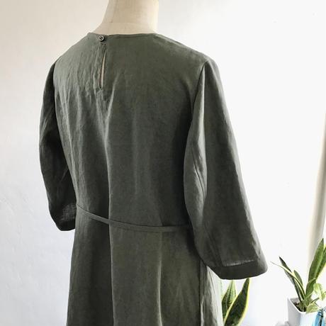 french linen  balloon dress  (khaki)