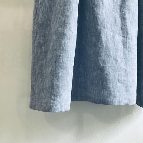 linen dungaree W button dress
