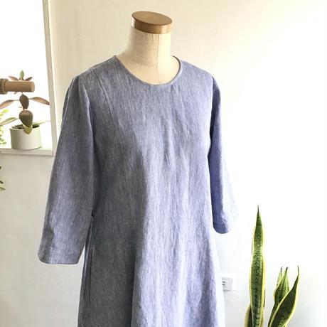 linen dungaree balloon dress  (light blue dungaree)