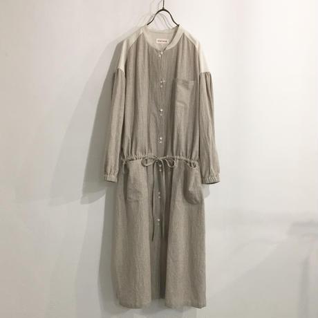 wide gather dress / brown stripe