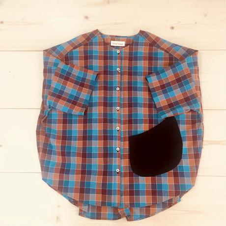 over-sized pocketing blouse / blue-orange check