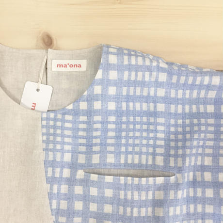 asymmetric circle tops / sky-blue check