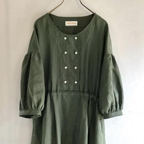 french linen  W button dress  (khaki)