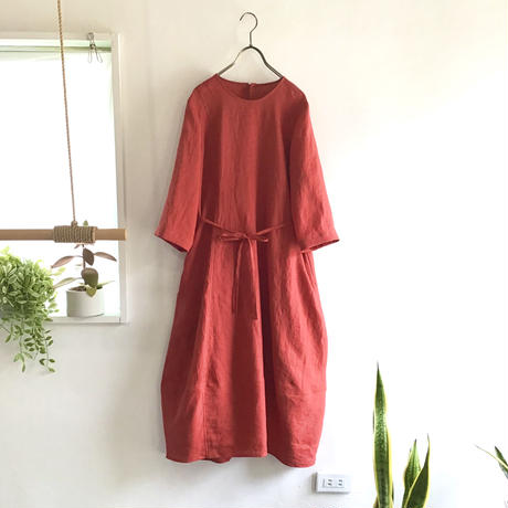 french linen  balloon dress  (red)