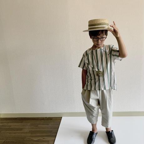KIDS: cross shirt 110cm - green stripes