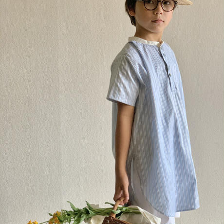 KIDS: white collor shirt 100cm, 110cm - water blue stripe