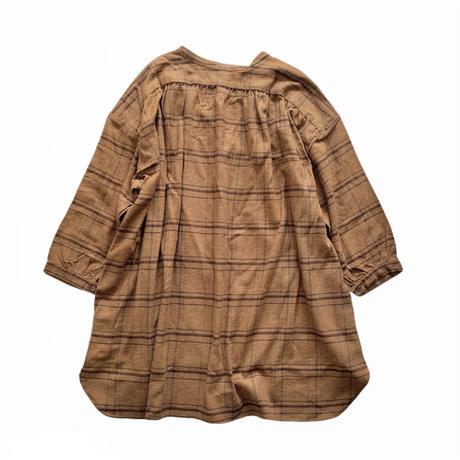 LADIES : smock shirt  - cotton herringbone  terracotta