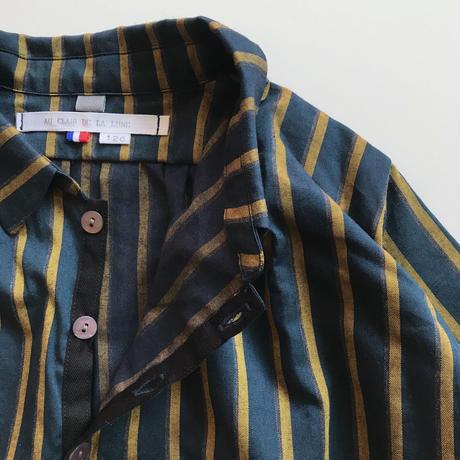 log shirt - green  x gold stripes