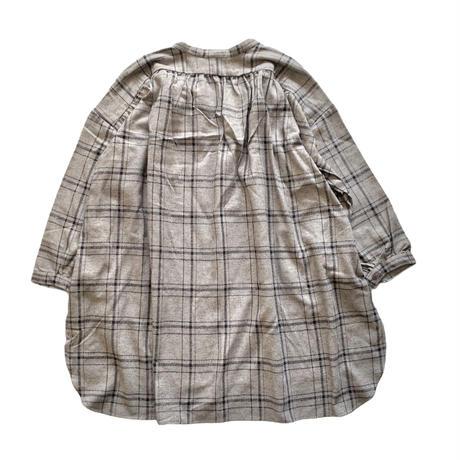 LADIES : smock shirt  - cotton herringbone  GRAY
