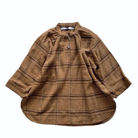 smock shirt dress - cotton herringbone  terracotta