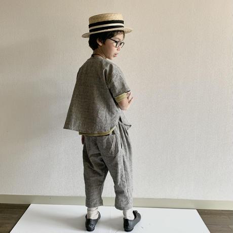 KIDS: Tuck pants 110cm ,120cm  - Light khaki