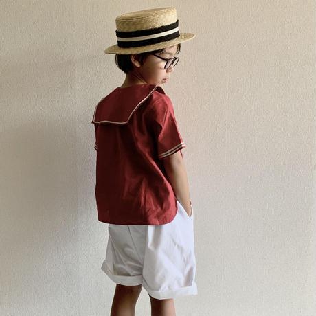 KIDS: sailor shirt  Bordeaux  100cm - linen&cotton