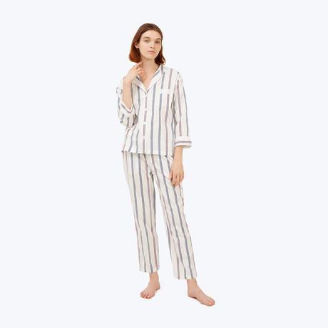 SLEEPY JONES // Marina Pajama Set Navy Regimental Stripe