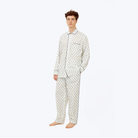 SLEEPY JONES // DLF Lowell Pajama Set White&Green Trees