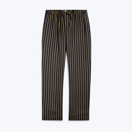 SLEEPY JONES // Silk Marina Pajama Pant Tie Stripe Navy&Gold