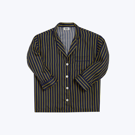 SLEEPY JONES // Silk Marina Pajama Shirt Tie Stripe Navy&Gold
