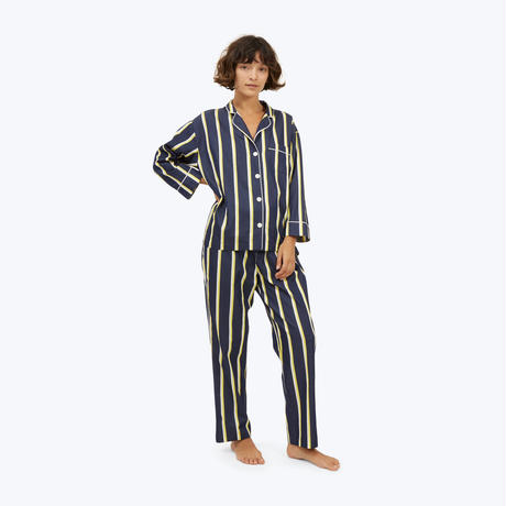 SLEEPY JONES // Marina Pajama Set Collegiate Stripe Navy, Yellow&White
