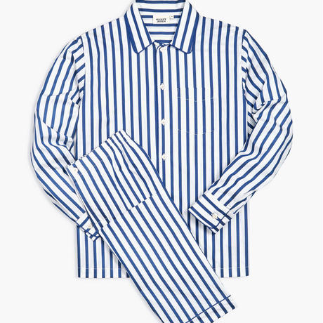 SLEEPY JONES / HENRY PAJAMA SET White & Blue Sateen Stripe