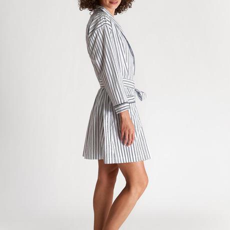 SLEEPY JONES / Isa Short Robe White&Blue Scribble Stripe
