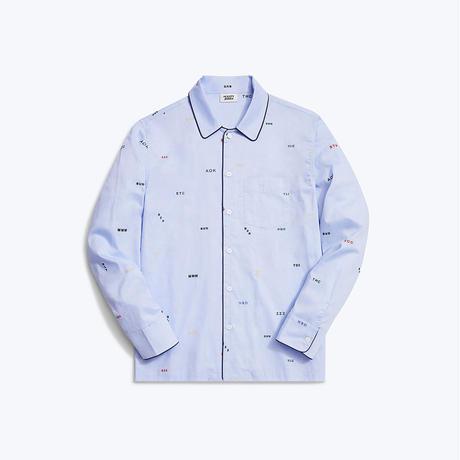 SLEEPY JONES // Henry Pajama Shirt Monogram Oxford Blue