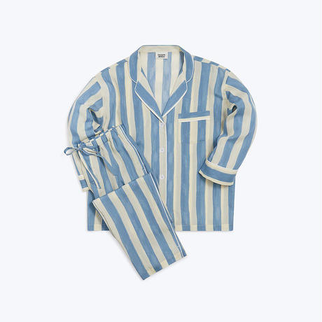 SLEEPY JONES // Marina Pajama Set Blue Bold Painted Stripe