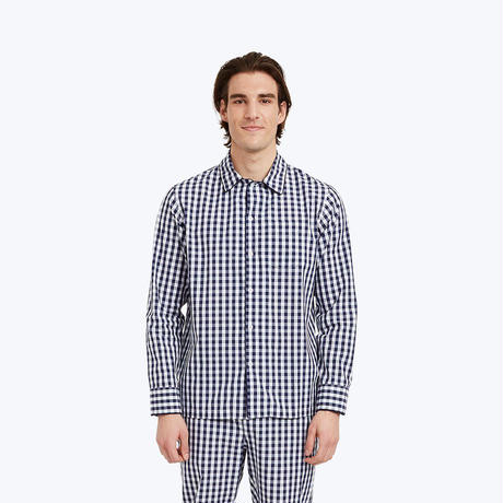SLEEPY JONES // Henry Pajama Shirt Navy Gingham