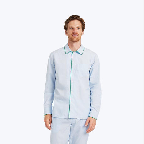 SLEEPY JONES // Henry Pajama Shirt End on End Blue