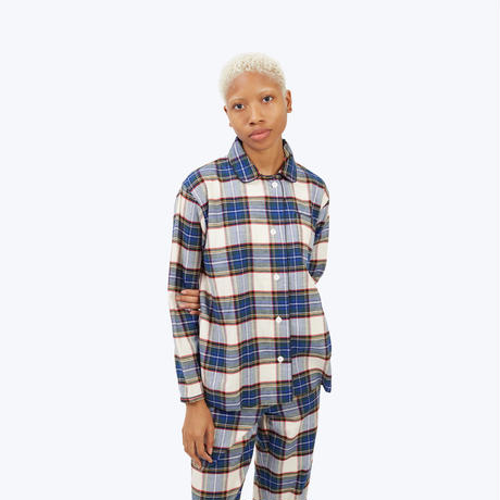 SLEEPY JONES // Bishop Pajama Set Cream Flannel Plaid