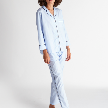 SLEEPY JONES / Marina Pajama Set End on End Blue with Navy Piping