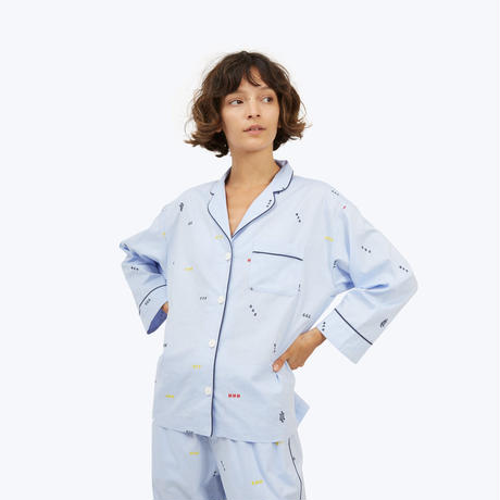 SLEEPY JONES // Marina Pajama Shirt Monogram Oxford Blue